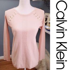NWT Calvin Klein Light Pink Sweater w. Gold Accent